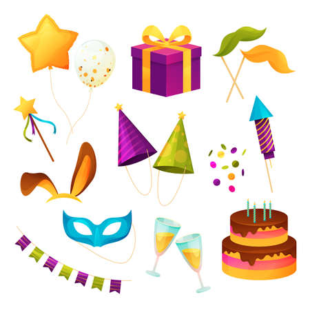 Party icons, birthday festival and carnival event