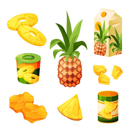 Pineapple fruit food products, juice drink, sweets