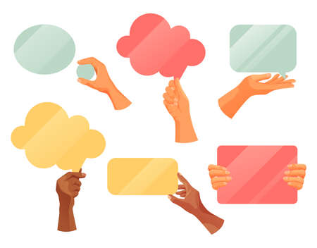 Hands holding text note clouds, vector flat icons