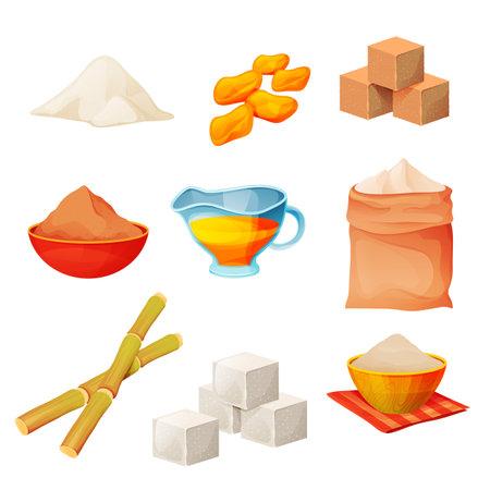 Sugar products food, cane sugar cubes and powder 向量圖像