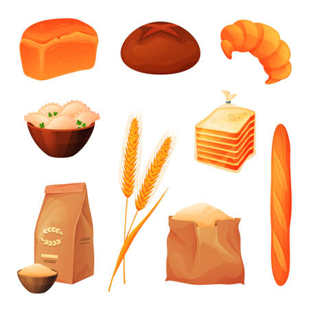 Wheat products, bread and bakery shop grain food
