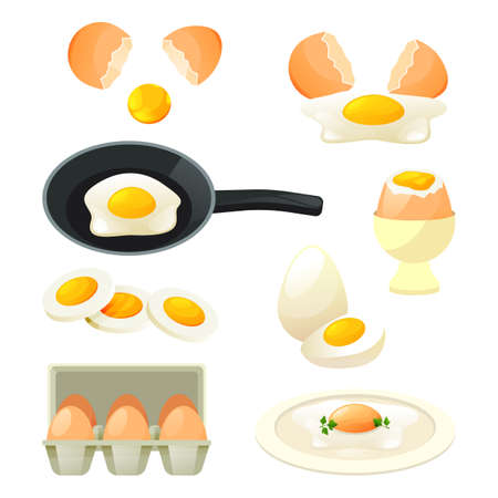 Poultry eggs set. Flat icons of cooked and raw hen eggs, scrambled egg on a pan, omelet, egg stand, poached, broken and sliced. Different types of egg dishes. Vector farm food