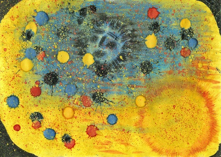 Moon and sun. Watercolor hand painted picture. Stock Photo