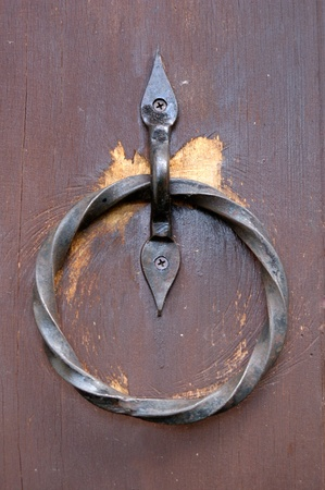 Close up old door knocker