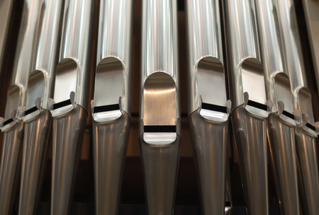 Organ pipes photographed close up.