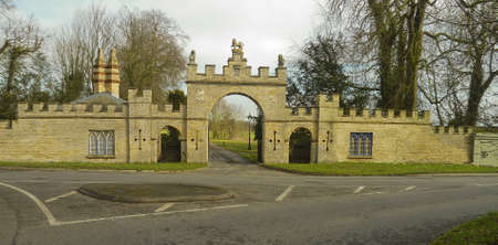 gatehouse: The fine stone entrance gate house to Redbourne Hall and estate