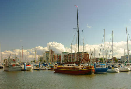 commercial docks: This image shows the Hull Marina to be found close by the city center  It was in days past, part of Hulls busy commercial docks