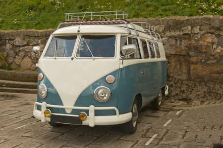 A well cared for camper van on the promenade at Scarborough, Yorkshire, England. photo