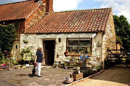 incentives: A attractive display of wares at a small cottage shop in Tealby Lincolnshire  Started with the help of local enterprise incentives   Stock Photo