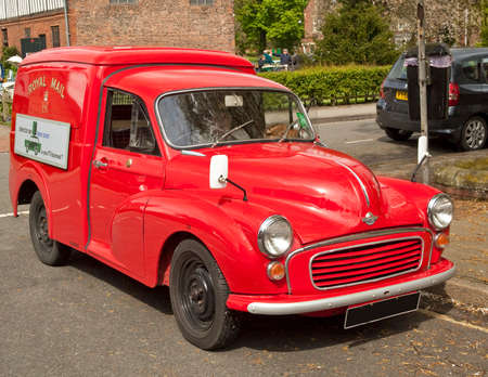 morris: A recently restored ,early Royal Mail delivery van  Make Morris Minor  Classic car rally,Gainsborough Old Hall, Lincolnshire, UK  Editorial