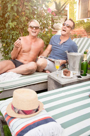 early 40s: Handsome Gay couple enjoying some time together outdoors