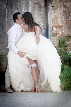 Happy greek newly wed couple outdoors together