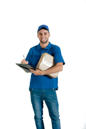 courier: Young handsome courier making a delivery