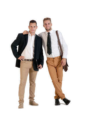 gay couple: Two young handsome businessmen in agreement