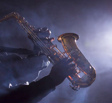 vibe: African jazz musician playing the saxophone Stock Photo