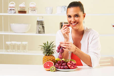 fruit grape eating snack health healthy diet,weight loss grapefruit Stock Photo