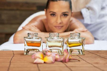 asian back massage therapy spa hot stone Stock Photo