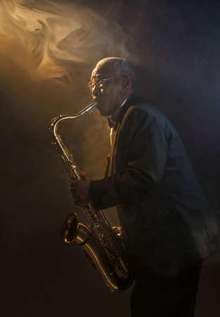 African American Saxophoniste Sax Jazz Musique Banque d'images