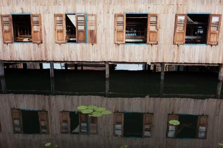 inle: Reflections, Inle Lake Stock Photo