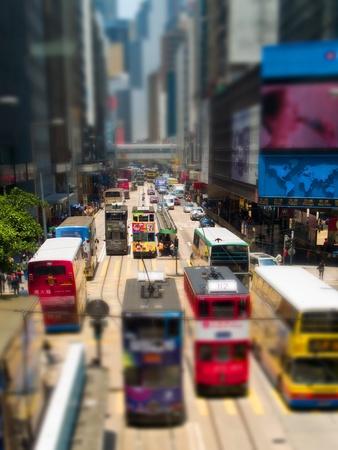 tilting: Trams, Des Voeux Road, Hong Kong
