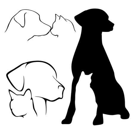 black cat silhouette: Dog & Cat Silhouettes Illustration