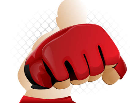 martial artist: Mixed Martial Arts Fighter Punching with Padded Glove Illustration