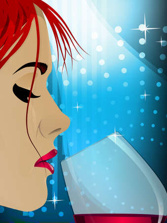 close up woman: Pretty woman drinking a glass of wine
