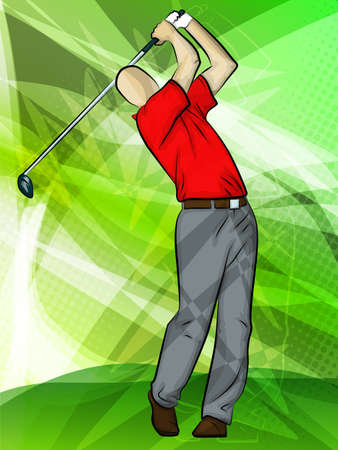 golf cartoon characters: Abstract sports backgroundGolfer Swinggolfer swinging a driver Illustration