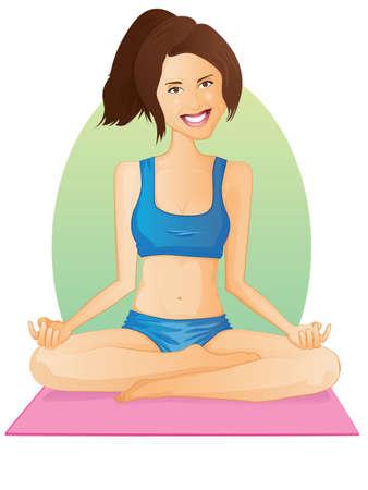 Yoga GirlLotus Pose Vector