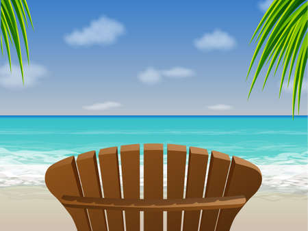chair wooden: Adirondack Beach Chair Illustration