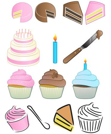 Cupcake Bakery Icon Set Vector