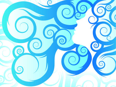 Flowing Hair/Blue Tribal Ilustracja