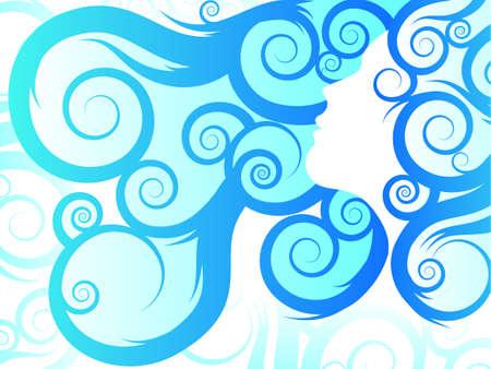 glam: Pelo que fluye  Azul tribal Vectores