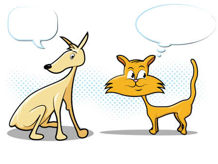 Cat & Dog Comic Style Characters Stock Vector - 12491561