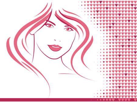 Salon hair with pink hears Illustration