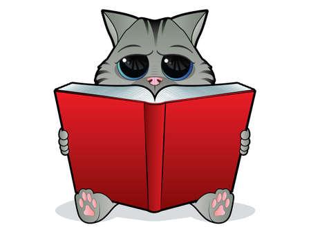 Kitten reading a large open book Vector