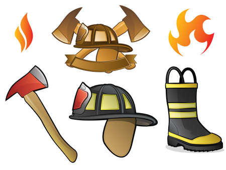 Collection of FirefighterFireman Symbols, Icons, and Objects Vector