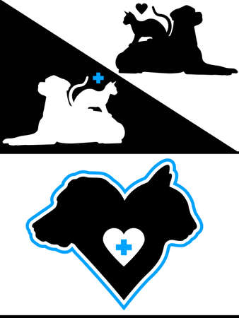Dog and Cat Silhouette Design Elements Vector