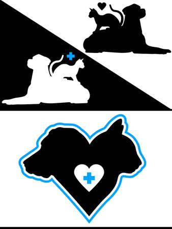 Perro y gato Silueta Elementos de diseño Foto de archivo - 12821301