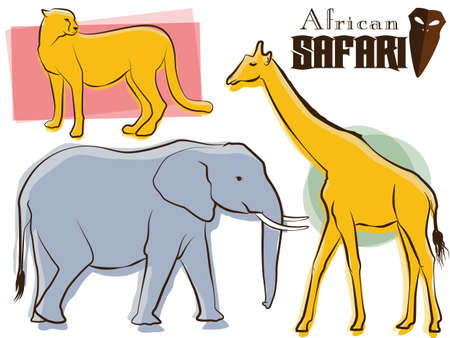 African Safari Animals Retro Vector