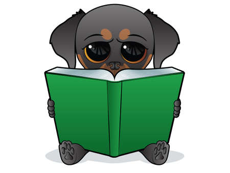 Cute Dog Character Reading a Large Book Vector