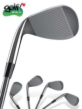 Club de Golf / Close up, Ilustración realista de Hierro Ilustración de vector