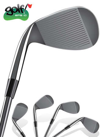 sport club: Golf ClubClose up, realistic Iron Illustration Illustration