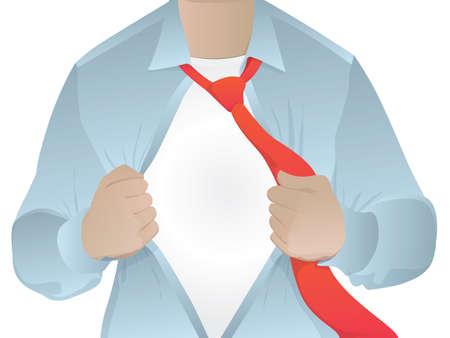 彼の秘密のアイデンティティ空白を明らかに彼のシャツビジネス男を開く男