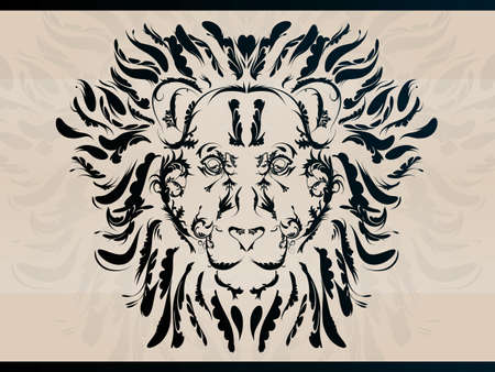 Ornate Decorative Lion 일러스트