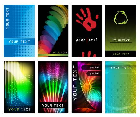 Abstract Business Card Set  High Tech Collection Vector
