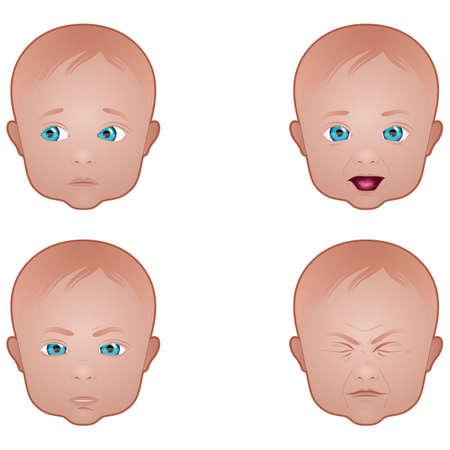 赤ちゃんの顔の表情  イラスト・ベクター素材