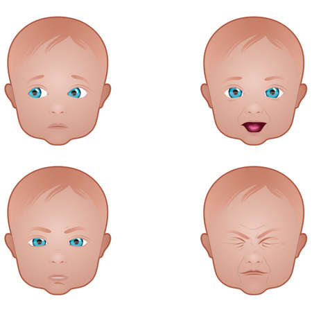 close up face: Baby face expressions Illustration