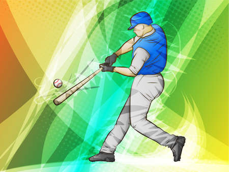 Baseball Abstract Sports Batter swinging for a homerun Vector