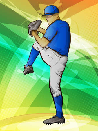 man in field: Abstract sports background Baseball pitcher